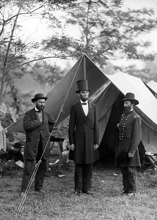 Allan Pinkerton, President Abraham Lincoln, and Major General John A. McClernand from the main eastern theater of the war, Battle of Antietam, September-October 1862