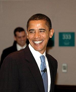 Sen. Barack Obama smiles