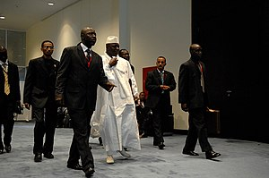 Gambian President Yahya Jammeh makes his way t...