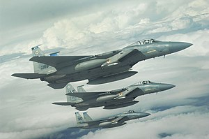 A 3-ship of F-15's from 366th Fighter Wing, Mo...