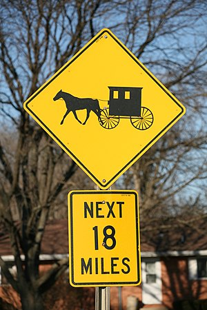 Traffic sign alerting drivers for Amish Buggie...