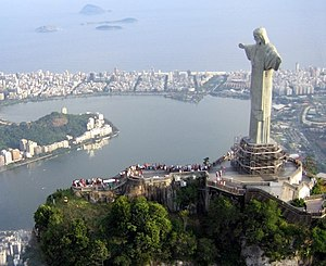 Cristo Redentor statue on top of Corcovado, a ...