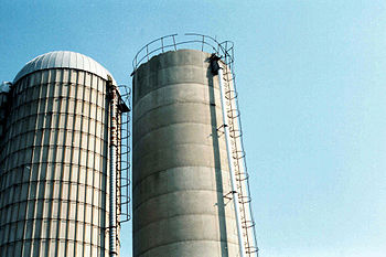 English: Photo of two farm silos