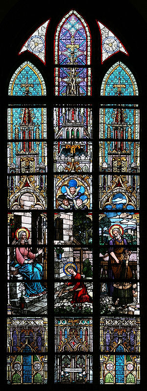 Stained glass window in church in Katowice.