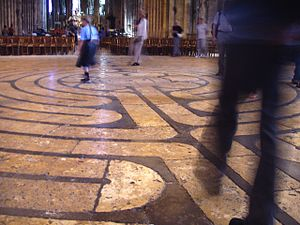 Walking the famous labyrinth in Chartres Cathedral
