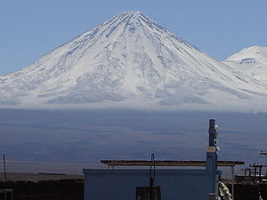 Licancabur, view of the volcano from San Pedro...