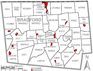 Map of Bradford County, Pennsylvania, USA with...
