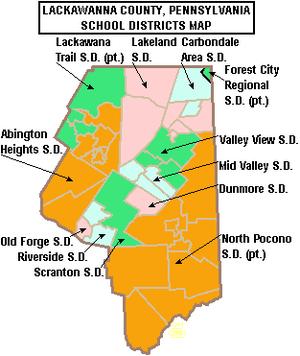 Map of Lackawanna County, Pennsylvania, United...