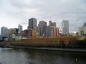 Part of the city and river in Melbourne, Austr...