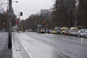 Beginning of St Kilda Road, Melbourne, on Prin...