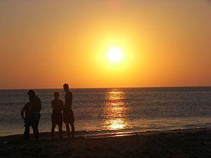 Deutsch: Tarifa, Sonnenuntergang am Strand