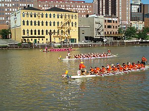 Dragon boats on the Cuyahoga River in Clevelan...