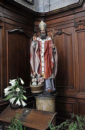 Sint Nicolaas van Myra, naamgever van de kerk.