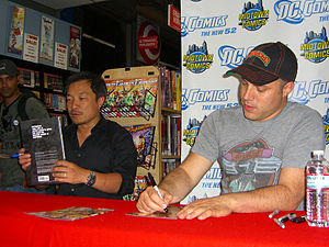 Jim Lee and Geoff Johns at the August 31, 2011...