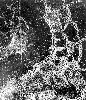 An aerial reconnaissance photograph of the opp...