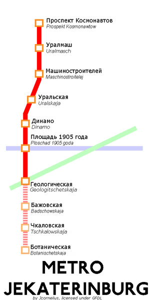 Description: Map of the Jekaterinburg Metro wi...