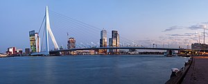 A panorama of the Erasmus Bridge and the River...