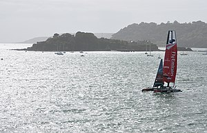 The Emirates Team New Zealand yacht passing Dr...