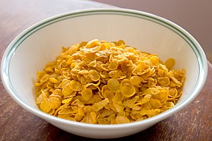 Corn flakes in a bowl.