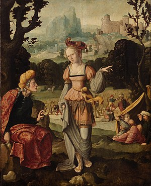 Jan van Scorel, Ruth and Naomi in the fields o...