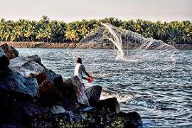 English: A fisherman in Kerala, India. A fishe...