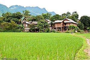 A scenery of Mai Chau, Hoa Binh, Vietnam.