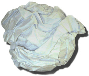A crumpled paper ball made from an A4 sheet