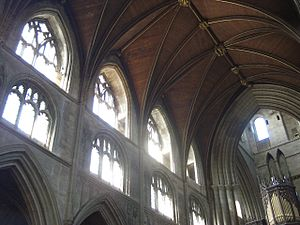 English: Ripon Cathedral interior.