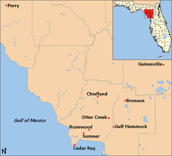 A color digital map showing the location of Rosewood in relation to other towns involved in the massacre