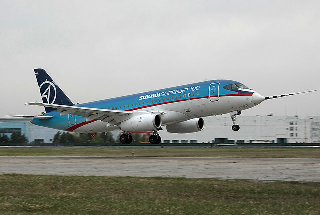 Superjet 100 prototype on its maiden flight, 19 May 2008.