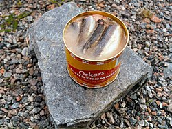 Opened can of surströmming (fermented Baltic herring) in brine.