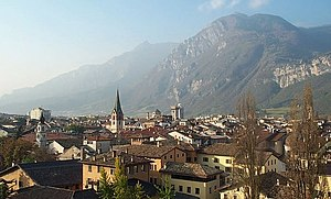Trento, Italy, seen from northwest, with Monte...