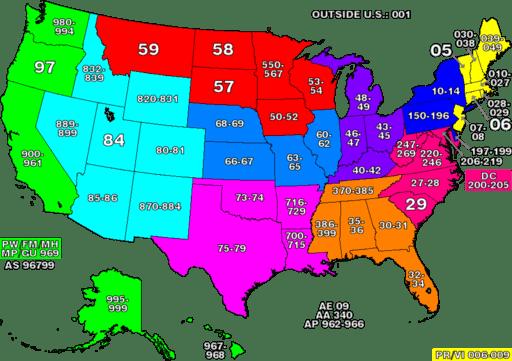 ZIP code zones