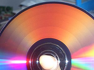 A photograph of a freshly burned DVD-R that cl...
