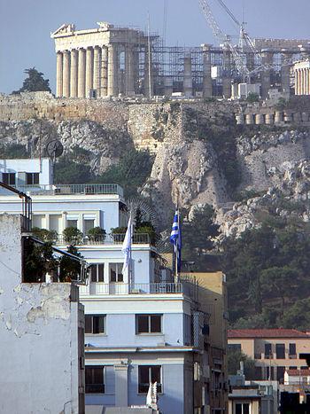 Akropolis von der Dachterasse des Hotels Polis...