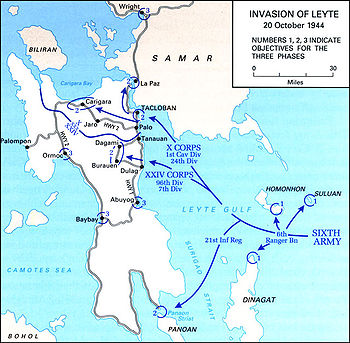 A tactical map for the Invasion of Leyte on 20...