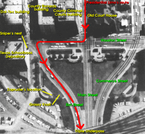 Photo of Dealey Plaza (annotated), from Warren...
