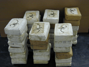Bricks of cocaine, a form in which it is commo...