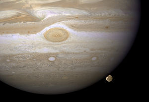 English: Image of Jupiter and Ganymede
