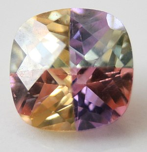 English: multi coloured cubic zirconia gemstone.