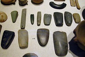 An array of Neolithic artifacts, including bra...