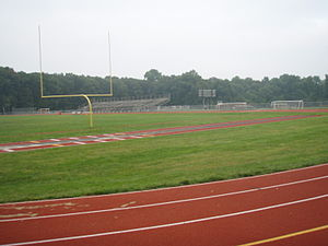 A track and football field at the stadium at N...