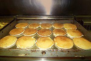 Pancakes on a diner griddle