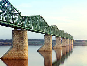 English: Metal Truss Railroad Bridge (Kama Riv...