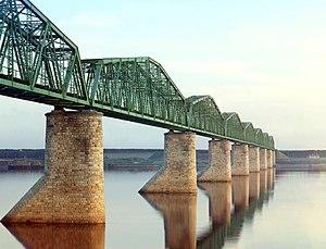 Bridge over Kama River, near Perm in 1912