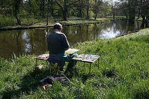 Deutsch: Landschaftsmaler im Schlosspark Charl...