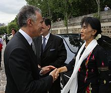 Suu Kyi with French Ambassador for Human Rights, Francois Zimeray