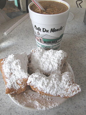 Beignet and Frozen café au lait at Café du Mon...