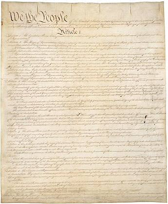 Page one of the original copy of the Constitution