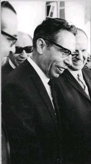 A cropped picture of Gustavo Díaz Ordaz, presi...